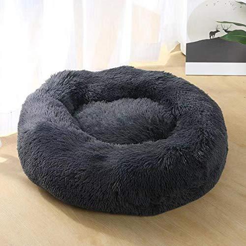 Anavia Cama Nido Redonda para Mascotas para Gatos y Perros Sofá tapizado para Dormir para Todas Las Estaciones, fácil de cuidar, Lavable, Gris Oscuro