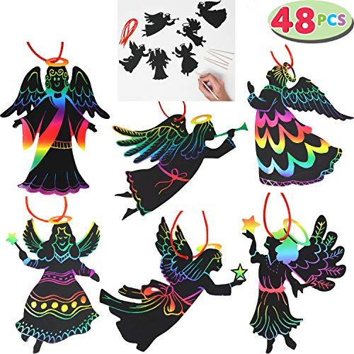 "JOYIN Rainbow Color Scratch Angel Ornaments (5""x 5"", 48 Count) Christmas Craft Kit Toys for Kids"
