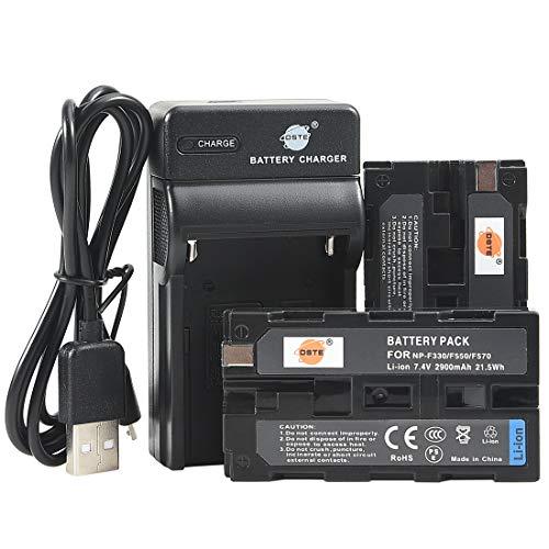 DSTE NP-F550 - Batería y cargador para cámaras Sony CCD-SC5 CCD-SC5/E CCD-SC55E CCD-SC55 CCD-SC6 CCD-SC65 CCD-SC7 CCD-SC7/E CCD-SC8/E CCD-SC9 (2 unidades)