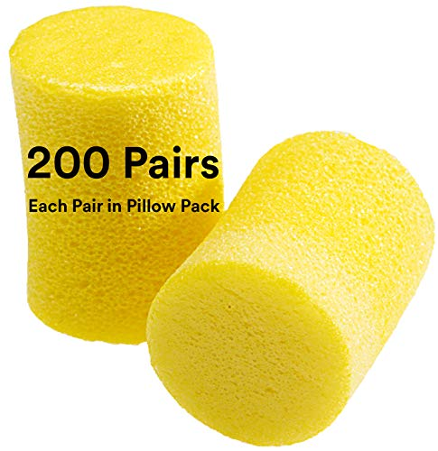 3M Ear Plugs, 200 Pairs/Box, E-A-R Classic 310-1001, Uncorded, Disposable, Foam, NRR 29, For Drilling, Grinding, Machining, Sawing, Sanding, Welding, 1 Pair/Pillow Pack
