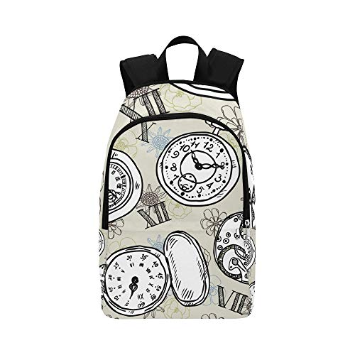 NQEONR Casual School Bag Colorful Cute Cartoon Life Wall Clock Durable Water Resistant Classic Mens Daypack Hiking Best Backpack Traveling Bag Crossbody Bags for College