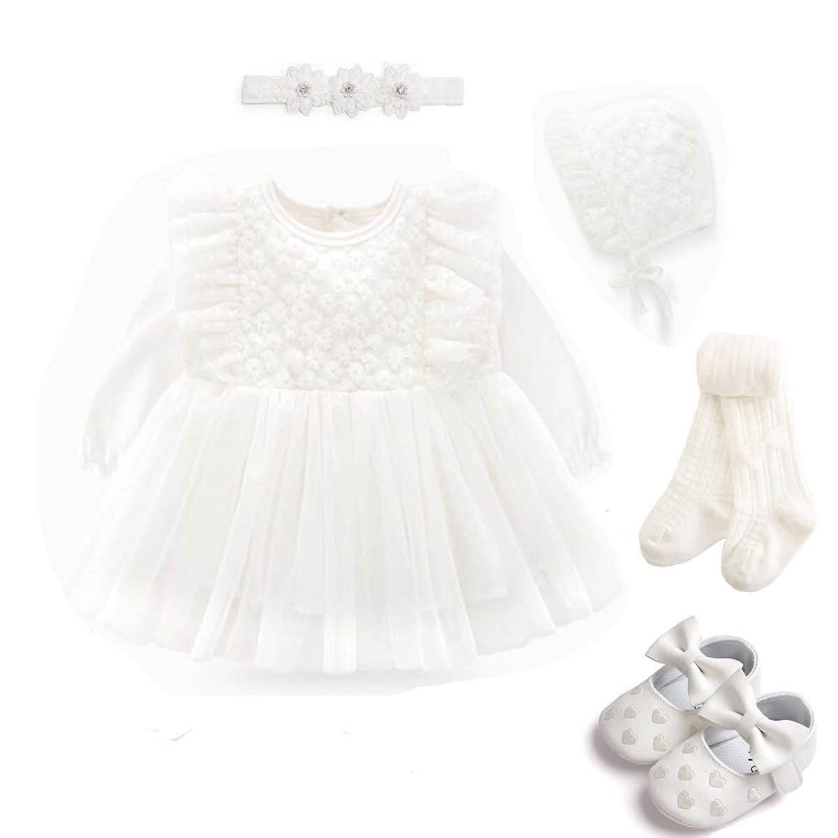 Dress Dress for baby Guipure Tights Body Headband Pink Set 0-3  3-6 months 5 in 1 Booties White Ivory