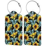 Sunflowers Butterfly - Juego de etiquetas de equipaje de cuero personalizado para maleta, accesorios de viaje