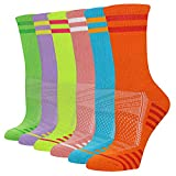 FUNDENCY Women's Athletic Crew Socks 6 Pack, Running Breathable Cushion Socks with Arch Support