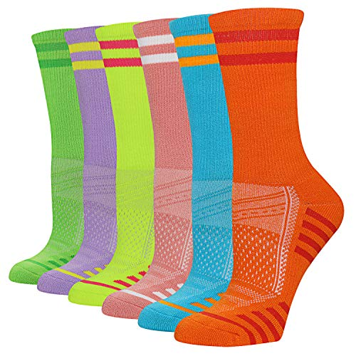 FUNDENCY Women s Athletic Crew Socks 6 Pack, Running Breathable Cushion Socks with Arch Support