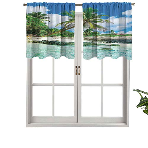 Hiiiman Cortina corta con bolsillo para barra de cortina, cenefa de ventana con cenefa, palmeras, sombras, selva, luna de miel, islas remotas de ocio, juego de 1, 91,4 x 45,7 cm para baño y cocina