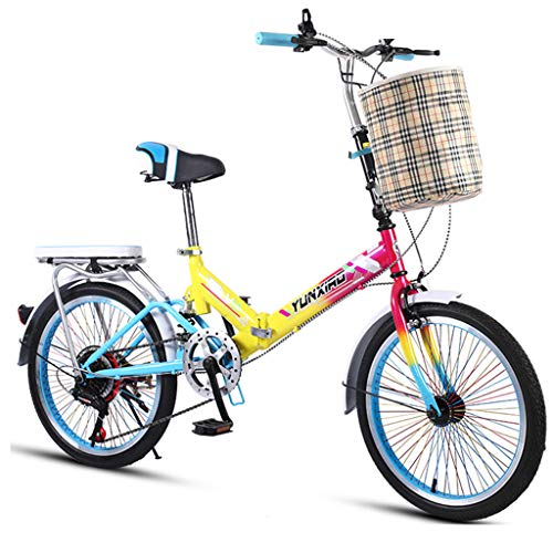 WPOV-A 20-Zoll-kleines Klapprad Student Mini City Bicycle 7-stufiges Mountainbike Mit Variabler Geschwindigkeit0624-Z(Color:Mehrfarbig)