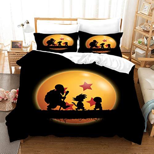BATTE - Juego de ropa de cama infantil 100% microfibra, diseño de dragón Z Goku 3D, funda nórdica...