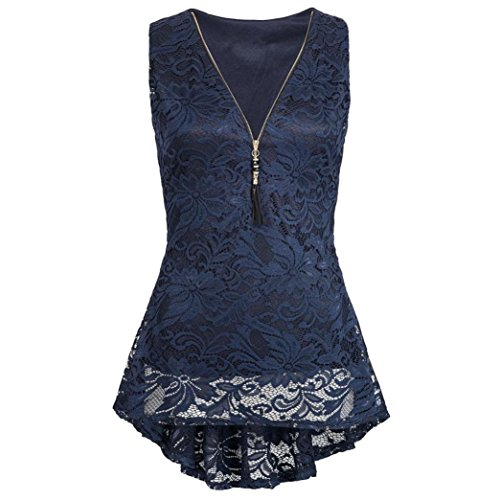 iHENGH Damen Zip Up Floral Lace Tank Top ärmellose dünne Weste Pure T-Shirts(Small,Marine)