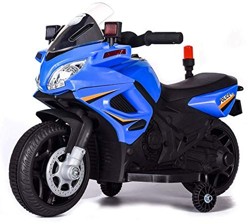 kid go Moto Elettrica per Bambini 6V Police Polizia Azzurra