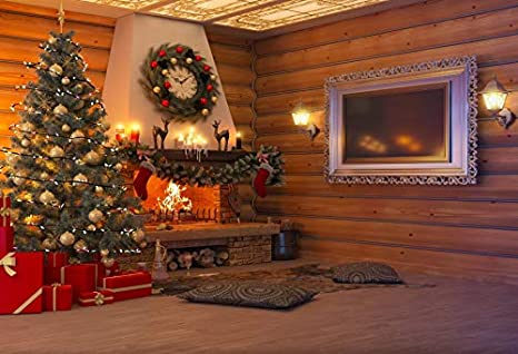 Leowefowa Rustic Timber Wall Fireplace Xmas Tree Red Floor Gifts Light Strings Retro Wood Floor Backdrop for Photography 9x6ft Christmas Background Xmas Party Banner Child Baby Photo Shoot Studio