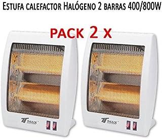 Pack 2 x Estufa Cuarzo 2 Tubos 400/800W Calefactor Calentador Radiador Halógeno Calor