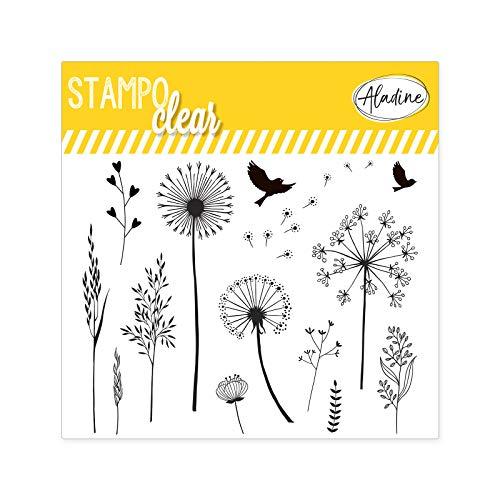 Aladine - Stampo Clear - Tampons Transparents Créatifs - DIY et Scrapbooking - Placement Précis des Motifs - Planche Tampons en Silicone (STAMPO Clear Floride)