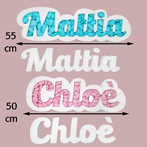 ocballoons Portaconfetti polistirolo personalizzabile nome scritta personalizzata contenitore caramelle cioccolatini (3-7 lettere)