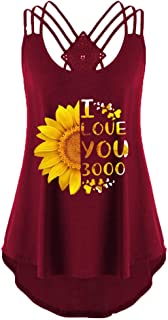 Women Sexy Camisole, OULSEN Summer Fashion Simple Sunflower Pattern Printing Round Neck Sleeveless Blouse Top Shirt Loose Casual Plus Size Tank Top Vest