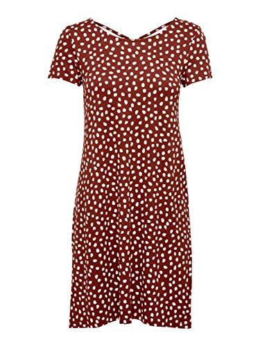 ONLY Damen kurzes Jersey-Kleid onlBera Lace Up, Farbe:Braun, Größe:S