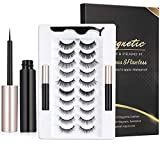 DreamGenius 10 Pairs Magnetic Eyelashes,Magnetic Eyelashes with Eyeliner, Reusable Waterproof 3D Magnetic Lashes with Applicator for Gorgeous Look