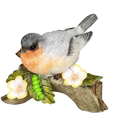 dekojohnson Deko-Vogel auf einem AST Frühlingsdeko Sommerdeko Gartenfigur Blaumeise Miniatur Vogelfigur Rotkehlchen Tierdeko Gartendeko 9cm groß