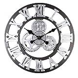 Alicemall Reloj de Pared Decorativo Vintage Reloj Cologado con Mecanismo Silencioso Decoración para Habitación Dormitorio Oficina Bar (Vintage 3)