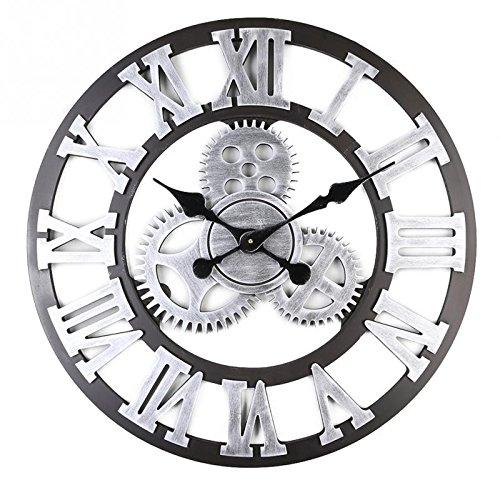 Alicemall Wanduhr Vintage 3D Rahmenlose Wandaufkleber mit Ziffernblatt Ohne Ticken Modern Vintage Metall groß Uhren Wohnzimmer Schlafzimmer(Style 6)