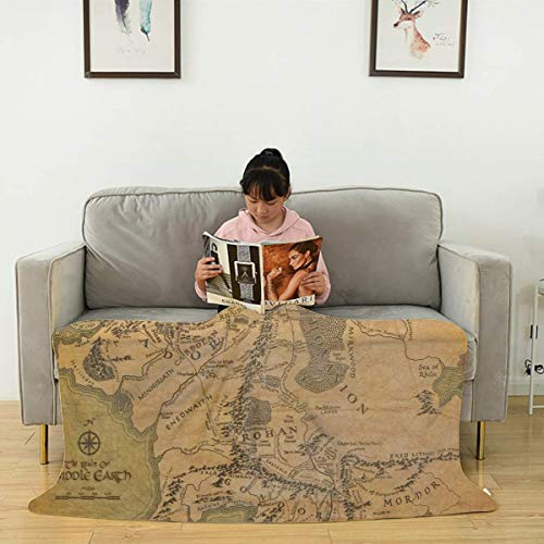 Lord of the ring Map Flannel Blanket Fluffy, Plush, Soft, Cozy, Lightweight, Warm Flannel Fleece Throw Blanket for Bed Couch