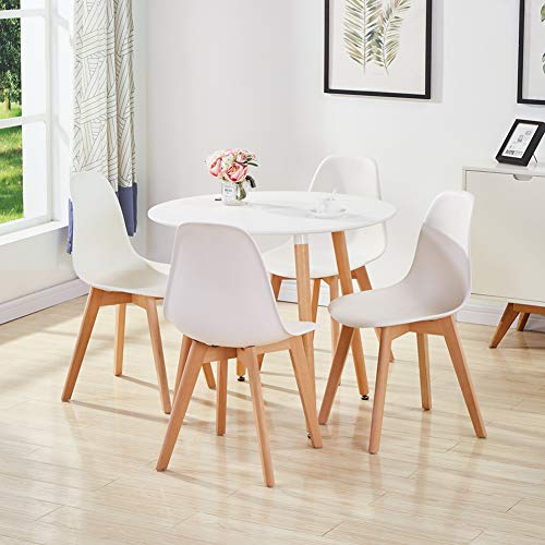 GOLDFAN Dining Room Set Dining Table and Chairs Set 4 Modern Round Kitchen Table Wood Style,White