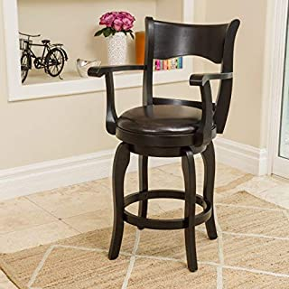Christopher Knight Home Cody Armed Espresso Leather Swivel Counter Stool,