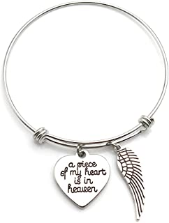 Memorial Jewelry A Piece of My Heart is in Heaven Angel Wing Necklace or Bangle Bracelet Memorial Gift