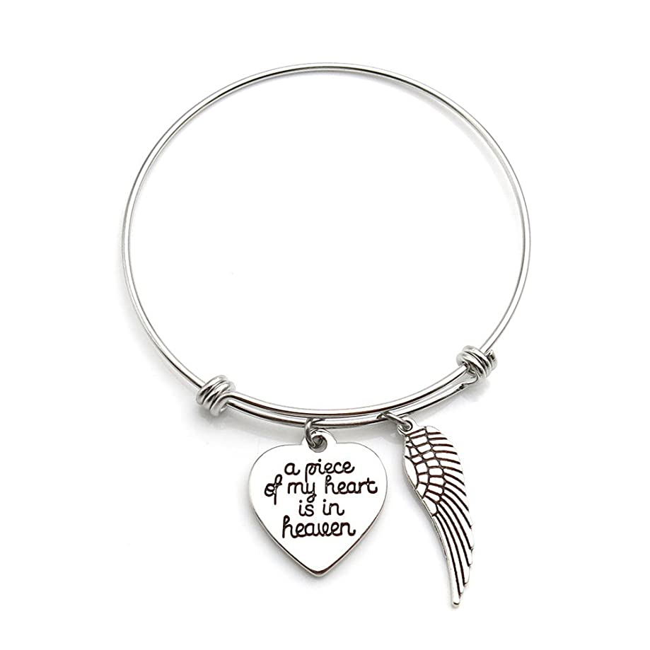 IDLAN Memorial Jewelry A Piece of My Heart is in Heaven Angel Wing Necklace or Bangle Bracelet Memorial Gift
