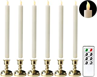 Eldnacele Flameless Flickering Taper Candles with Remote Timer, Battery Operated LED Window Candles Pack of 6 Wax Candlesticks 12