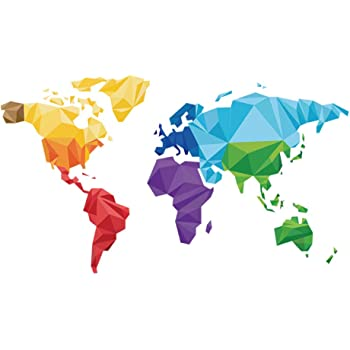 decalmile Pegatinas de Pared Tema de Origami Mapa del Mundo ...