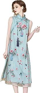 تنورة Cheongsam من الحرير مزدوجة الطبقات مطرزة طويلة بدون أكمام مطوّرة من HangErFeng Qipao زهور صينية العنصرية