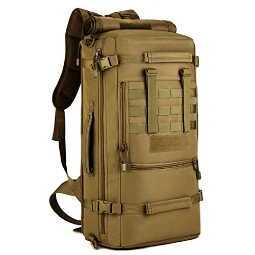 Hiking Backpack 50L Tactical Military Backpack MOLLE Assault Backpack Handbag Shoulder Bag Large Waterproof Bag Rucksack Outdoor Gear for Hunting Cycling Camping Trekking Backpack Khaiki