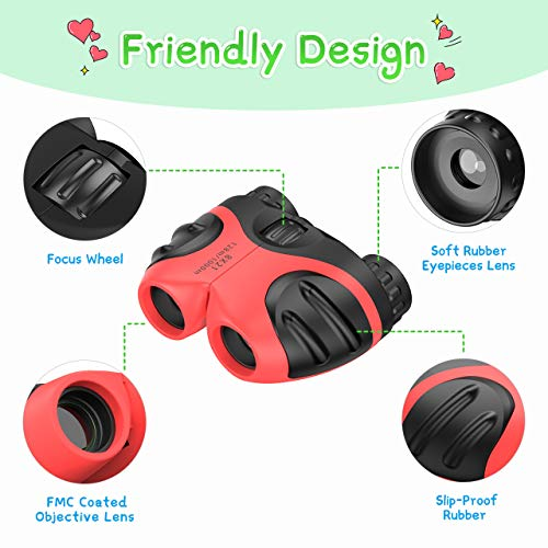 Birthday Gifts for Girls Age 3-10, DIMY 8x21 Compact Fogproof Binoculars for Hiking Hunting Toys for 3-10 Year Old Girls Red DL04
