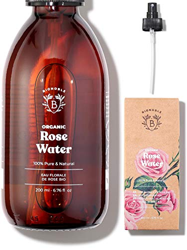 AGUA DE ROSAS ORGÁNICA | Tónico de Agua de Rosas de Damasco 100% Puro y Natural | Sin Alcohol Añadido, Sin Conservantes | Cara, Contorno de Ojos, Cuerpo, Cabello | Botella de Vidrio + Spray (200 ml)