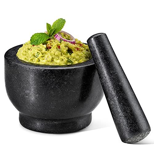 küchen specht Mörser mit Stößel Granit - 12cm Ø mit Antirutsch-Pad - schwarzer Granit-Mörser - schwer und ohne Abrieb