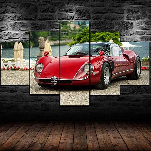 199Tdfc Drucken Sie Auf Leinwand Poster & Kunstdrucke Gerahmte 1968 Alfa Romeo Tipo 33 Stradale Auto 5 Stück Leinwanddruck Wandkunst Dekor