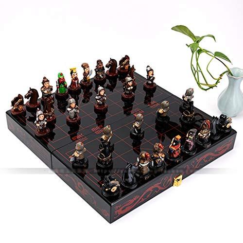 alvis Ajedrez Mesa de Madera Juegos de ajedrez Chino Regalo de Resina Plegable Pieza de ajedrez de Navidad cumpleaños Premium Entretenimiento Juego de Mesa Ajedrez Internacional