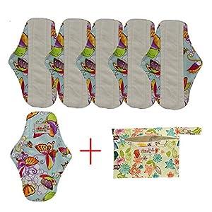 OHBABYKA Bamboo Reusable Sanitary Napkins Pads/Cloth Menstrual Pads for Women