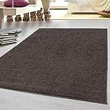 HomebyHome tappeto moderno a pelo corto, economico, tinta unita mélange, per salotto, camera da letto, corridoio, cucina, 100% polipropilene, moka, 160 x 230 cm