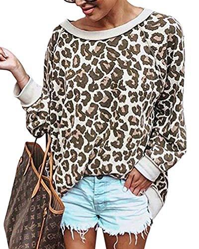 Zanzea Damen Pullover Sweatshirt Langarmshirt Rundhals Leopard T-Shirt Bluse Damen Oberteile Khaki XX-Large