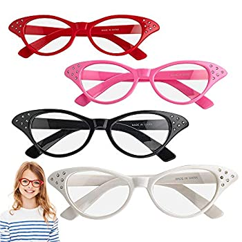 ArtCreativity Retro Cat Eye Glasses with Rhinestones - Pack of 4 - Vintage Cat Eye Fashion Eyeglasses for Women and Kids Fun Props for 50s 60s Grease Theme and Old Crazy Cat Lady Costume