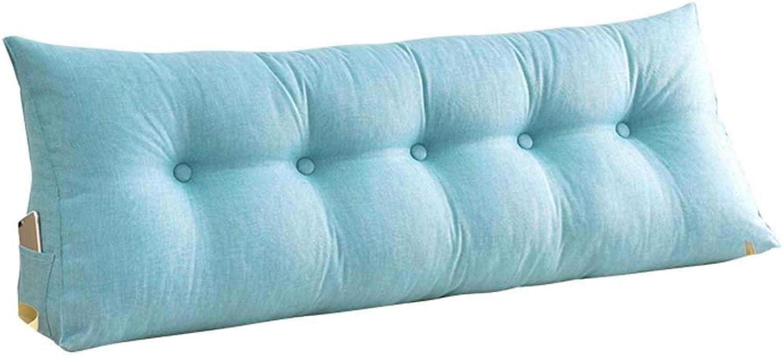 TIAMO Coussin Double Lit Canapé Oreiller Long Peut être Coton Fixe Oreiller Détachable Et Lavable Grand Dos avec Une Literie Remplie D'éponge (Couleur   Lake bleu, Taille   200  50cm)