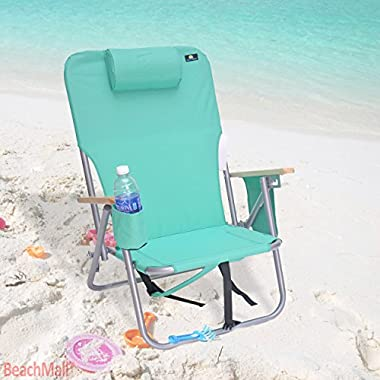BeachMall Deluxe 4 position Steel Backpack Chair with Drink Holder & Storage Pouch