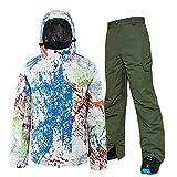 UJDKCF Hombres esquiando Snowboard Chaqueta de esquí y Pantalones Snow Ski Traje Hombre Ropa de Ropa 01 Army Green Pants XXL