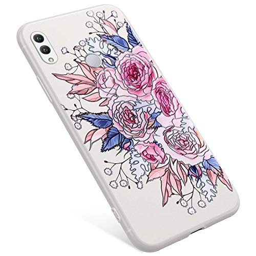 Uposao Coque Compatible avec Huawei Honor Note 10 Coque Matte Etui Premium Semi Transparent Motif Rose Fleur Soft TPU Silicone Coque Anti-Choc Bumper Ultra Mince Slim Case Coque Huawei Honor Note 10