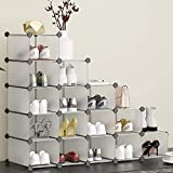 HOMIDEC Schuhregal, 16 Würfel Schuhschrank Kunststoff Schuhkarton Organizer für Schrank Flur Schlafzimmer Eingang(Transparent)