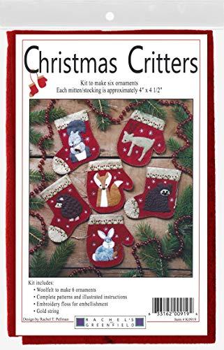 RACHEL'S OF GREENFIELD Felt Ornament KIT, Christmas Critters