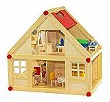 FREDA Puppenhaus + Möbel 28 Teile + Hussen + Wiege + Familie mit Wechselkleider + Baby Komplettset...