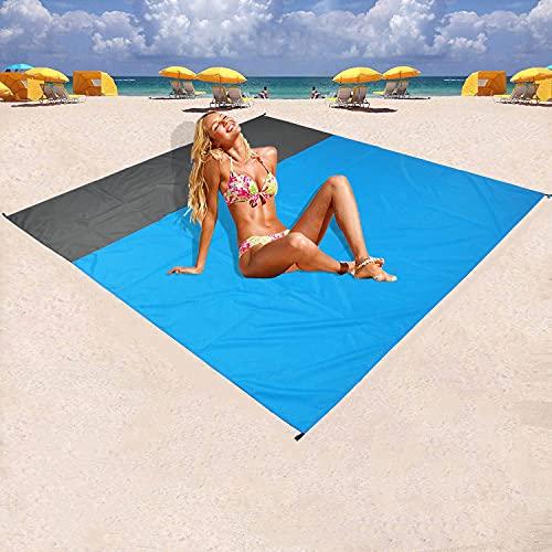 Yomisee Picknickdecke, Stranddecke 210x200cm Wasserdicht und Sandabweisend Tragbare Campingdecke 4 Befestigung Ecken Ultraleicht kompakt Picknickmatte für den Strand, Campen, Wandern und Ausflüge